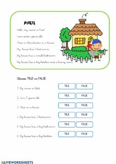 Interactive worksheet HOUSE Read and choose T or F
