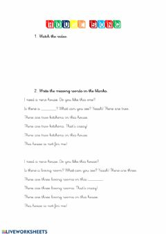 Interactive worksheet House song