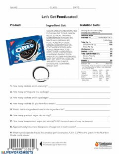 Interactive worksheet Let's Get Fooducated - Oreos