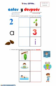 Interactive worksheet Antes y despues