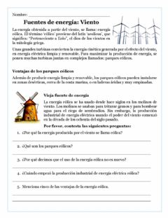 Interactive worksheet Energía eólica