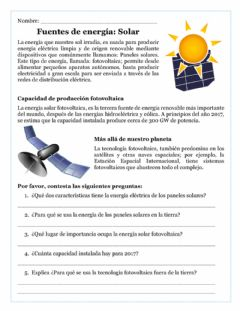 Interactive worksheet Energía solar