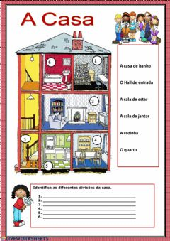 Interactive worksheet As partes da casa