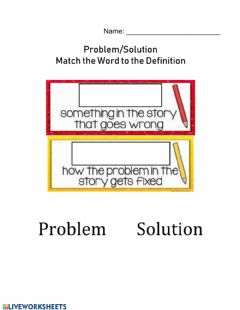 Ficha interactiva Problem Solution Definition Match