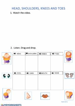 Interactive worksheet Head, shoulders, knees and toes song