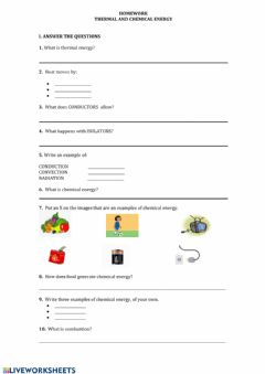 Interactive worksheet Themal and Chemical Energy