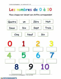 Interactive worksheet Compter de 0 à 10