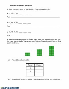 Ficha interactiva Number Patterns Quiz