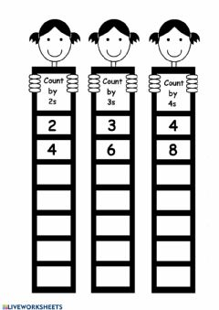 Interactive worksheet Skip Count by 2s, 3s, and 4s