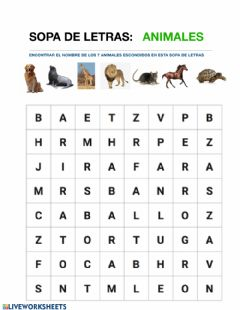 Interactive worksheet Sopa Letras Animales