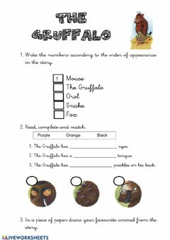 Interactive worksheet The Gruffalo
