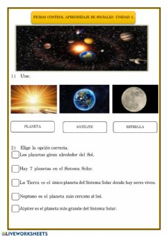Interactive worksheet El universo.
