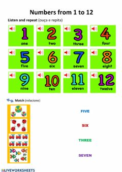 Interactive worksheet Number 1 to 12