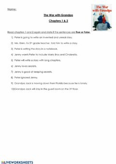 Ficha interactiva War with Grandpa Chapters 1-2 True and False