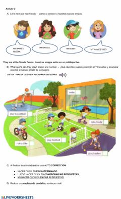 Interactive worksheet Time for sports