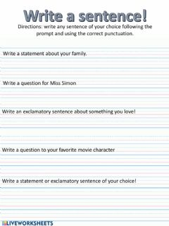 Ficha interactiva Write a sentence with varied punctuation