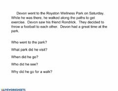 Interactive worksheet Went to the park