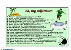 Ficha interactiva Grammar rule - Adjectives with -ed and - ing