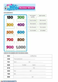 Interactive worksheet Numbers 100 to 1000