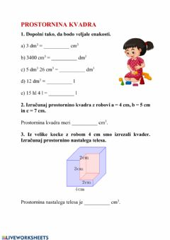 Interactive worksheet Prostornina