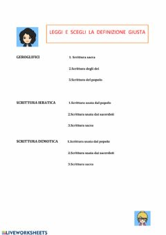 Interactive worksheet Egizi:scelta multipla
