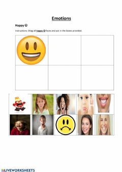 Interactive worksheet Emotions(Identify Happy)