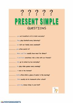 Interactive worksheet Present Simple - Questions