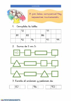 Interactive worksheet 27 abril: Numeración hasta 99