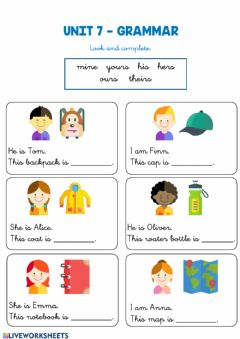 Interactive worksheet Unit 7: Possessive pronouns