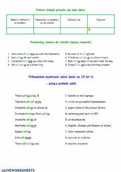 Interactive worksheet Future Simple for Polish kids