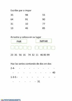 Interactive worksheet Pares e impares