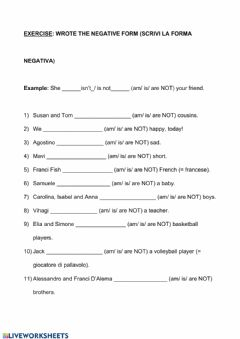 Ficha interactiva Verb to be negative