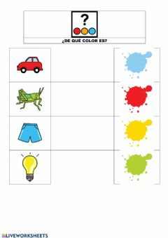 Interactive worksheet ¿De qué color es?