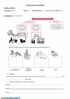 Interactive worksheet Homónimos