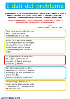 Interactive worksheet Dati del problema