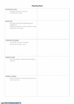 Interactive worksheet Planning sheet