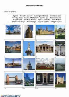 Interactive worksheet London Landmarks
