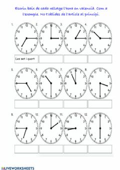 Interactive worksheet L'hora