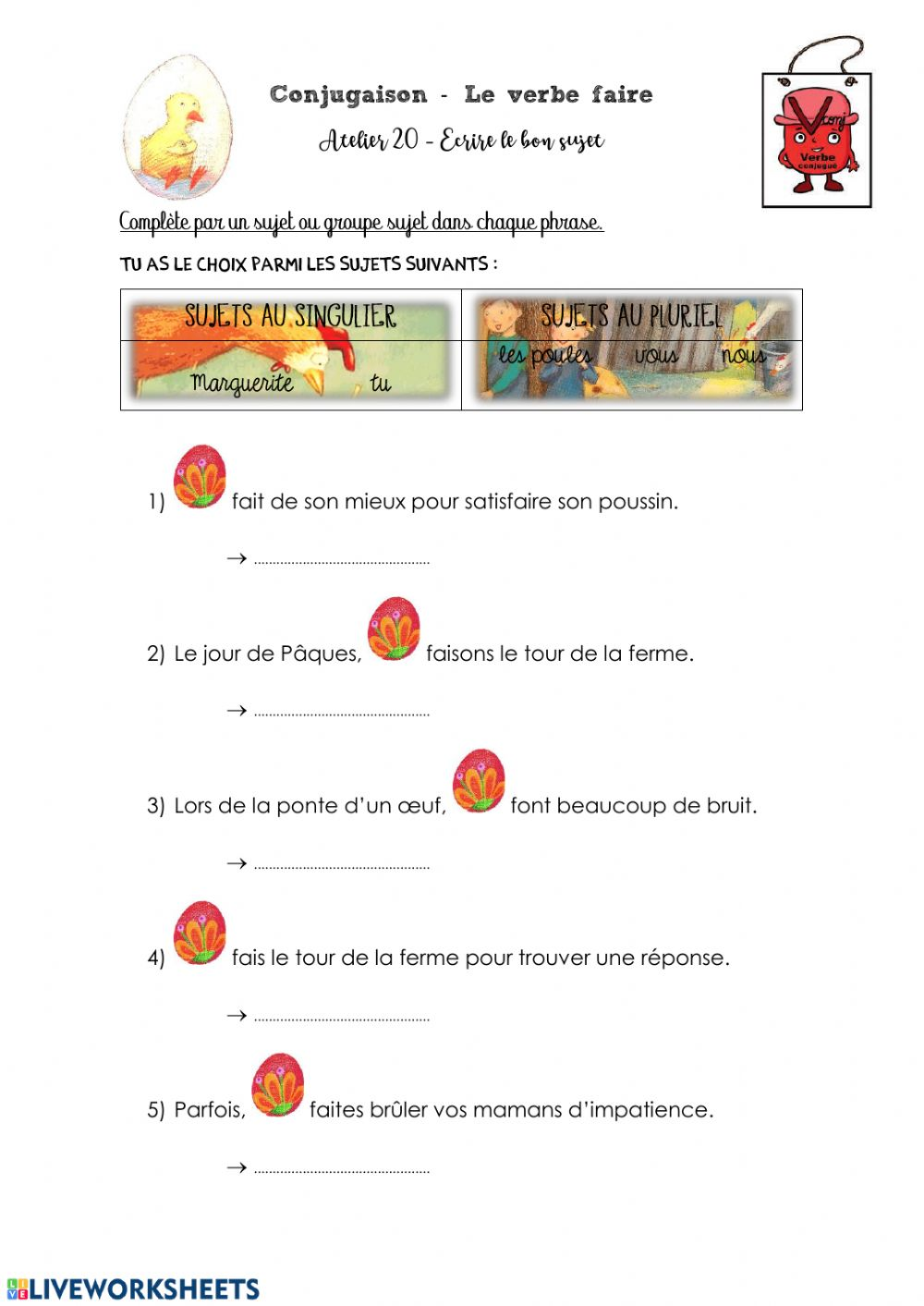 J Attendrai Paques Verbe Faire Worksheet