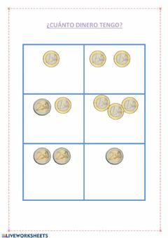 Interactive worksheet Monedas 1 y 2 euros