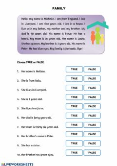 Interactive worksheet FAMILY reading activities