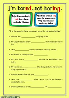 Interactive worksheet -ING and -ED Adjectives