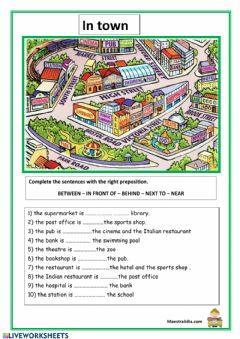 Interactive worksheet Prepositions and directions