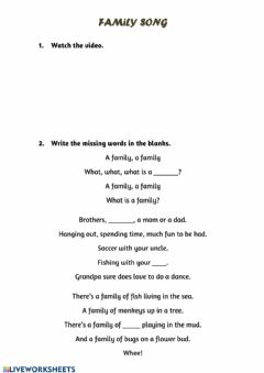 Interactive worksheet Family song