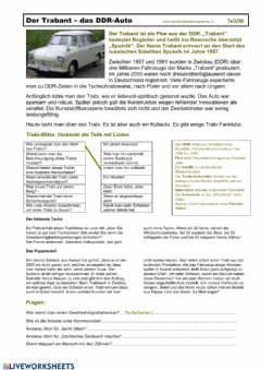 Interactive worksheet Trabant