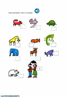 Interactive worksheet Listen and number Mixed up Chameleon animals