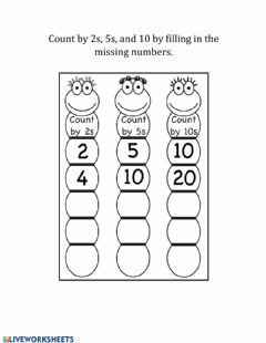 Interactive worksheet Count by 2s, 5s, and 10s