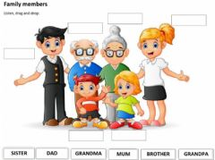 Interactive worksheet Family members Listening activity