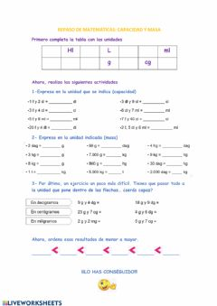 Interactive worksheet Capacidad y masa