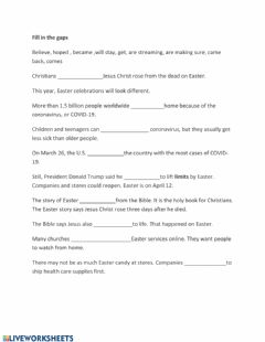 Interactive worksheet Easter. fill in the gaps